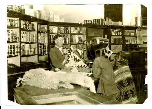 Trading rugs and sheepskins at the Tuba Trading Post.