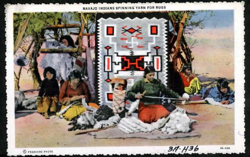 Navajo Indians spinning wool for rugs.